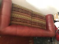 antique table and eight chairs, armchair and leather two seater sofa