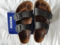 Mens Arizona Birkenstock blacl Leather Sandals Size 11/45/290, used but for only a month or so
