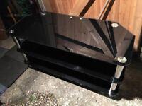 Quality Black Glass And Chrome TV Unit Good Condition Bargain