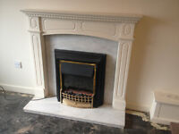 Electric Fireplace with Solid Marble Back & Hearth