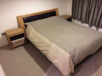 Oak king size (uk) bed including IKEA Memory foam matress and 2 matching side tables