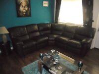 recliner corner leather sofa .