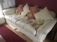 Large 3 seater Sofa, Armchair and footstool -Beige washable covers- Good Condition
