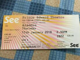 Aladdin the musical stall ticket 11 jan 2018 £30 fixed price 2:30 pm performance