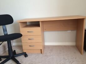 Desk - Beach Effect with Drawers and Chair