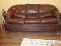 3 seater brown soft leather sofa bed in good condition
