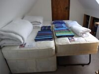 Guest bed with stowaway bed +2 single duvets /2 duvet covers/fitted sheets/2 mattress covers