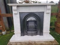 128 Cast Iron Fireplace Fire Solid Marble Arch Arched Antique Victorian Style