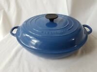 Le Crueset Shallow Casserole 30cm cast iron in Blue Like New