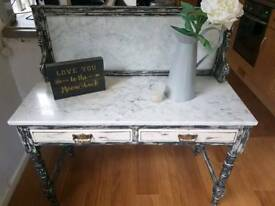 Antique upcycled shabbychic marble table/ dressing table