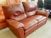 2 Seater Manual Recliner Sofa Settee in Burgundy Ox Blood Red Leather. Great Condition