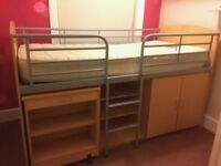 Single Bunk Storage Bed with Table Excellent Condition