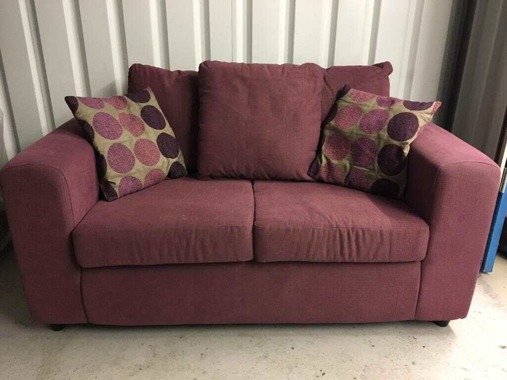 Pair Of Mulberry Coloured Sofas With Cushions 2 Seater 5