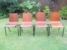 VINTAGE MID CENTURY INDUSTRIAL REMPLOY STACKING BENTWOOD CHAIRS x 4,