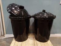 Set of 2 x 80l Large storage bin with Lids Giant Bin for restaurants / Garage / Pubs / Cafe / Garden