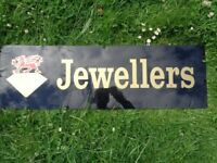 Vintage Jewellers Shop Sign Dragon on Diamond Motif Black Plastic