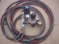 Gas welding gauges pipes and torch