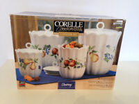 NEW Corelle CHUTNEY CANISTER Set of 4 Fruit Harvest Stoneware with Airtight Lids