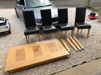 Wood Dining Room Table + 4 Brown Leather Chairs