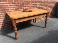 Solid PINE 4-6 seater table WOOD farmhouse vintage
