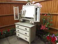 Shabby Chic Antique Dressing Table With Mirror - Decoupage-A.Sloan Hand Painted