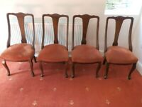 Set of 4 Antique Mahogany Queen Anne style Chairs (Dining, Hall, Bedroom)