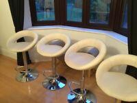 Set of 4 white faux leather bar stools