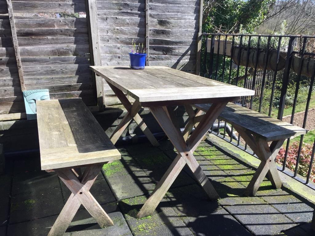 Excellent 4 Seater Reclaimed Teak Outdoor Garden Table And Bench Set In Cricklewood London Gumtree Cjindustries Chair Design For Home Cjindustriesco