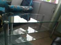Glass corner tv table unit