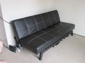 Sofa bed - Black faux leather fold down