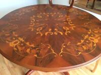 Reproduction dining table with inlay