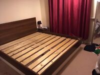 Superking solid wood bed with 2 matching bedside tables