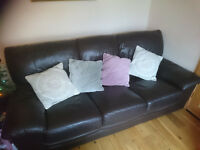Brown leather suite 3 and 2 with footstool *** REDUCED TO CLEAR ***