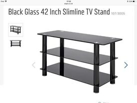Black glass widescreen TV stand