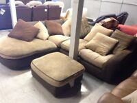 Beige Fabric Corner Sofa