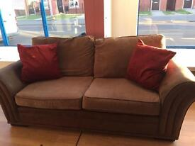 2 seater brown fabric sofas