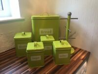 Lime Green Bread bin, coffee, tea, sugar, biscuits cannisters & mug tree in great condition