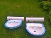 2 x basin and pedastals