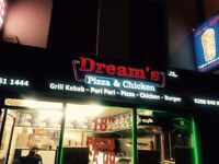 "Refurbished Pizza & Kebab take-away ""Dream's"" for sale/rent located on Uxbridge Road, Hillingdon."