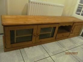 MASSIVE LOW HEAVY QUALITY SOLID PINE LOW SIDE BOARD 3 DOORS AND I DRAWER LOTS OF STORAGE