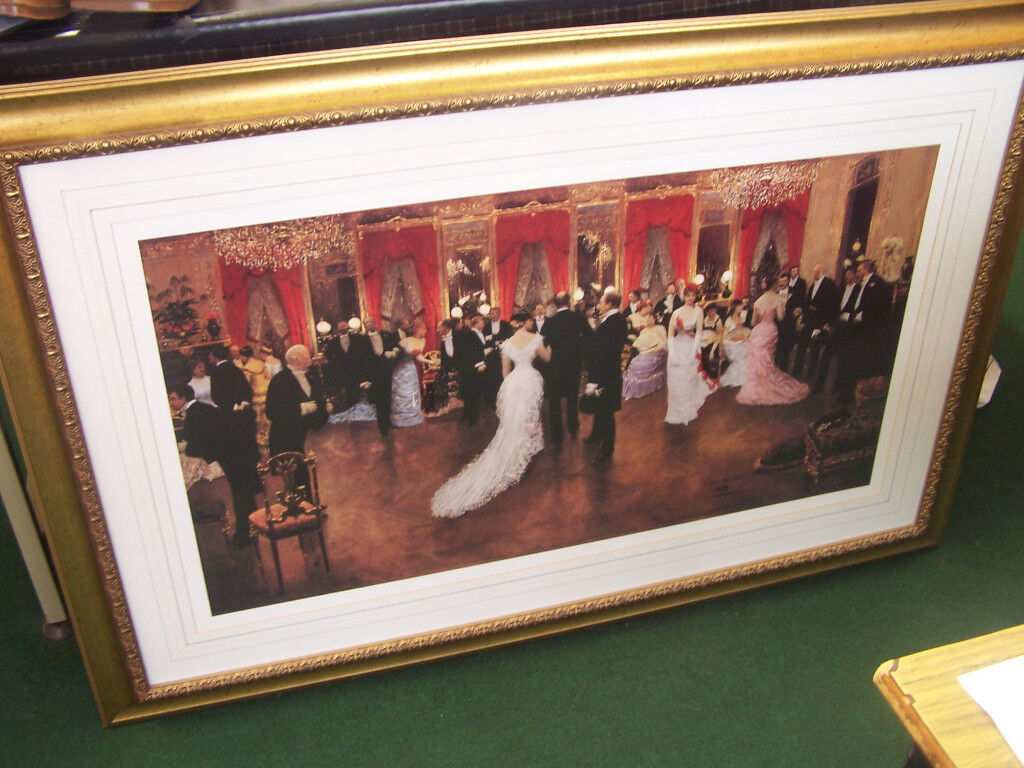 Very Large Picture with lovely gold coloured frame old fashioned ballroom scene