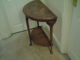 Antique half moon, hall table in need of up cycling. Solid