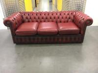 Genuine leather ox blood Chesterfield sofa •free delivery