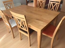 Wooden table and chairs for 6