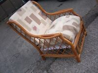Bamboo/cane chair with fitted cushions