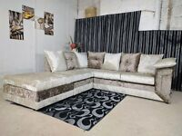 BRAND NEW STYLISH DINO CRUSH VELVET (3+2) SOFA SET OR CORNER SOFA ON SPECIAL OFFER