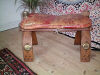 Genuine EGYPTIAN THEMED LEATHER CAMEL STOOL.