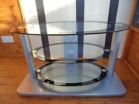 TV and Audio Equipment Stand in Silver with Glass Shelves
