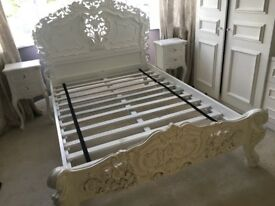 ROCOCO ANTIQUE FRENCH STYLE BED AND FRENCH STYLE BEDSIDE TABLES