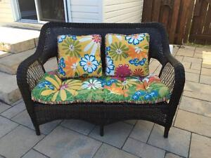 Pier One Wicker Bench with Sunbrella Reversible Cushion